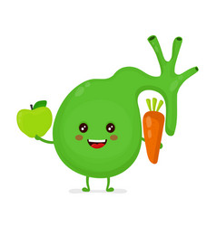 Strong healthy happy gallbladder with apple vector