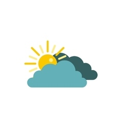 Sun behind clouds icon flat style vector image