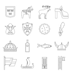 Sweden travel icons set outline style vector image
