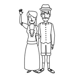 Swiss in national dress man and woman in vector