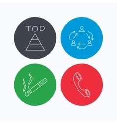 Teamwork smoking and phone call icons vector