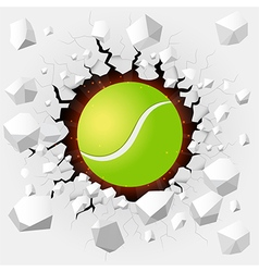 Tennis ball with cracked background vector