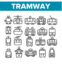 tramway urban transport thin line icons set vector image