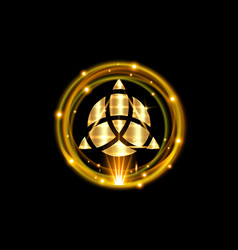 Triquetra geometric logo and gold shiny round vector