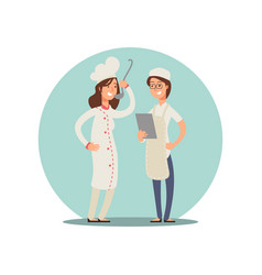 two smiling chefs tasting food professional cooks vector image