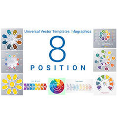 Universal templates set infographics 8 positions vector