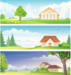 Urban and rural banners vector image