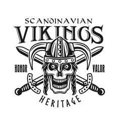 viking skull in helmet and swords emblem vector image