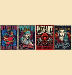vintage colorful tattoo conventions posters vector image