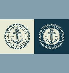 vintage monochrome nautical round logo concept vector image