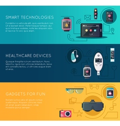Wearable Technology Gadgets Flat Banners Set vector image