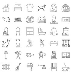 Wedding icons set outline style vector