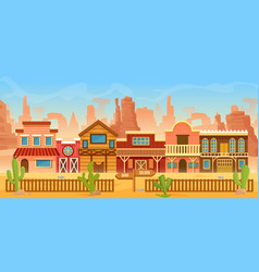 western american town in desert landscape cartoon vector image