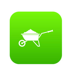 wheelbarrow loaded with soil icon digital green vector image