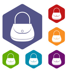 woman bag icons set hexagon vector image