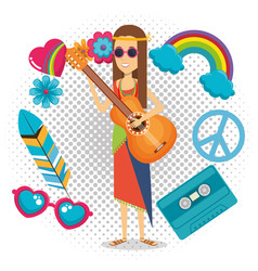 Woman hippie with guitar lifestyle character vector