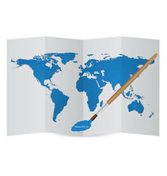 world map globe on the paper from drawing vector image