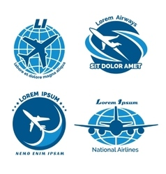 Aircraft logo emblems set vector image vector image