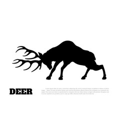 black silhouette of fighting deer forest animal vector image vector image