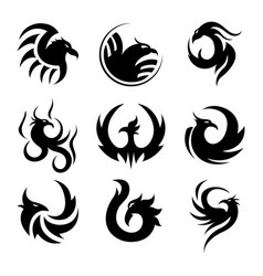 black tattoo template of phoenix isolated vector image