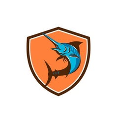 Blue Marlin Fish Jumping Shield Retro vector image