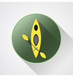 Canoe icon Kayak on a green button Summer vector image