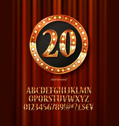 Golden alphabet with show lamps isolated vector