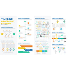 business timeline infographic elements vector image