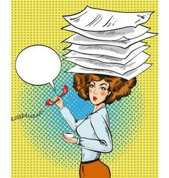 busy woman in retro pop art vector image
