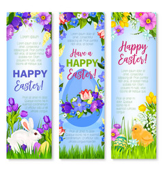 happy easter eggs bunnies greeting banners vector image vector image