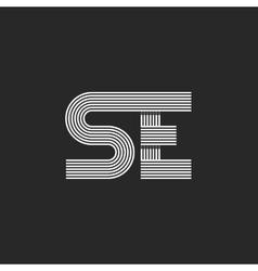 Modern logo SE letter monogram intersecting thin vector image vector image