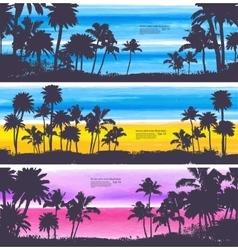 set of Vintage summer banners vector image