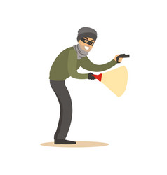 thief in a black mask on the eyes with flashlight vector image