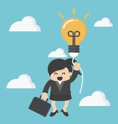business woman with a success balloon idea vector image vector image