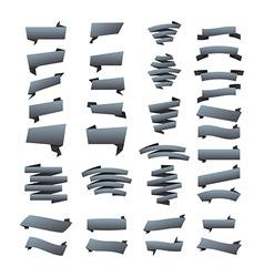 grey ribbons set Elements isolated on white vector image