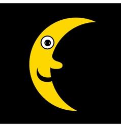 Moon icon on black vector image vector image