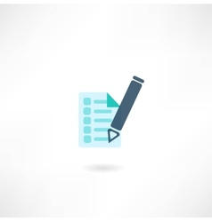 pen with document icon vector image vector image