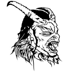 satan head with scary face vector image