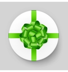 White Round Gift Box with Green Bow and Ribbon vector image vector image