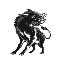 Angry wild hog razorback scratchboard vector