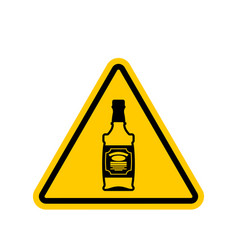attention alcohol bottle of whiskey on yellow vector image