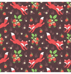 Foxes and wild strawberries seamless pattern vector image vector image