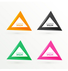 Abstract triangle banners set with text space vector