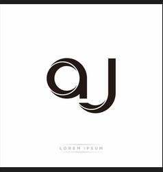 Aj initial letter split lowercase modern monogram vector