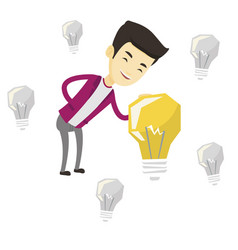Asian businessman having business idea vector