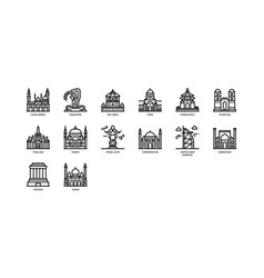 Asian cities landmarks icons set 3 vector