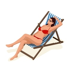Beautiful woman in white bikini lying on a sun vector image