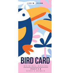 Bird card birds and animals poster design vector
