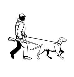 bird hunter and hungarian pointer dog walking vector image