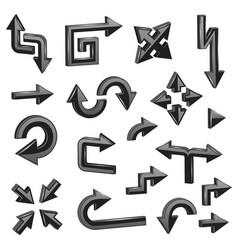 black 3d arrows set of different shiny web signs vector image